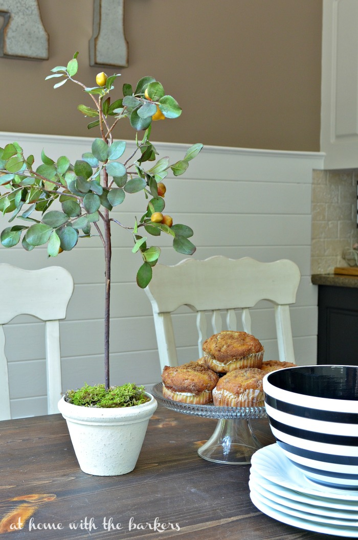 Kitchen Table Styling with topiaries