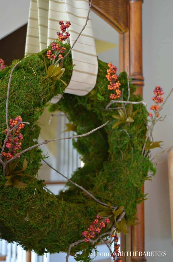 DIY Natural Fall Sheet Moss Wreath from At Home with The Barkers