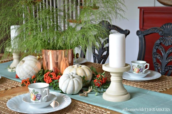Fall Center piece with painted pumpkins from At Home with The Barkers
