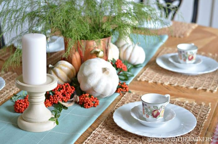 Fall Centerpiece for dining room table from At Home with The Barkers