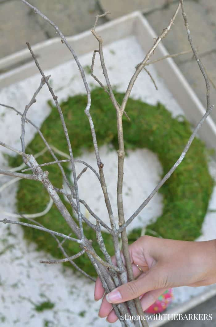 DIY Natural Fall Wreath with sheet moss and twigs