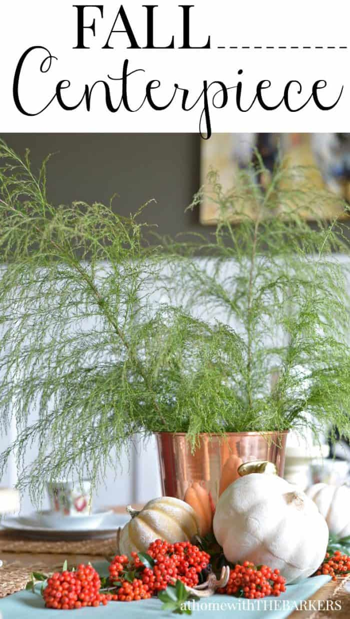 Fall table centerpiece at home with the barkers