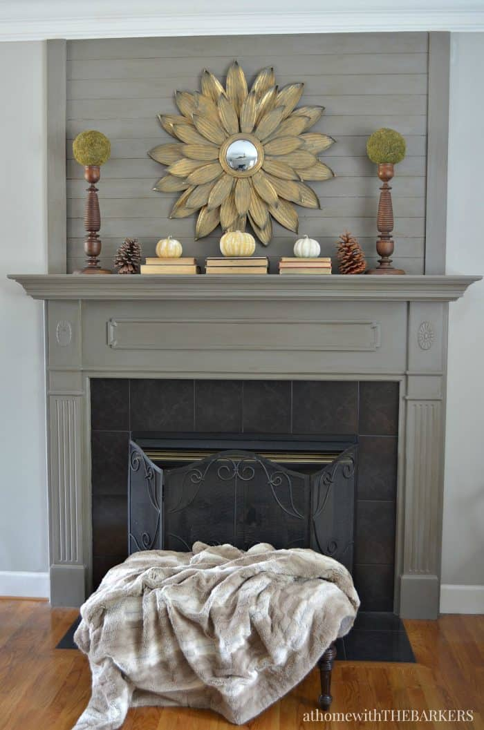 Simple Fall Mantel from At Home with The Barkers