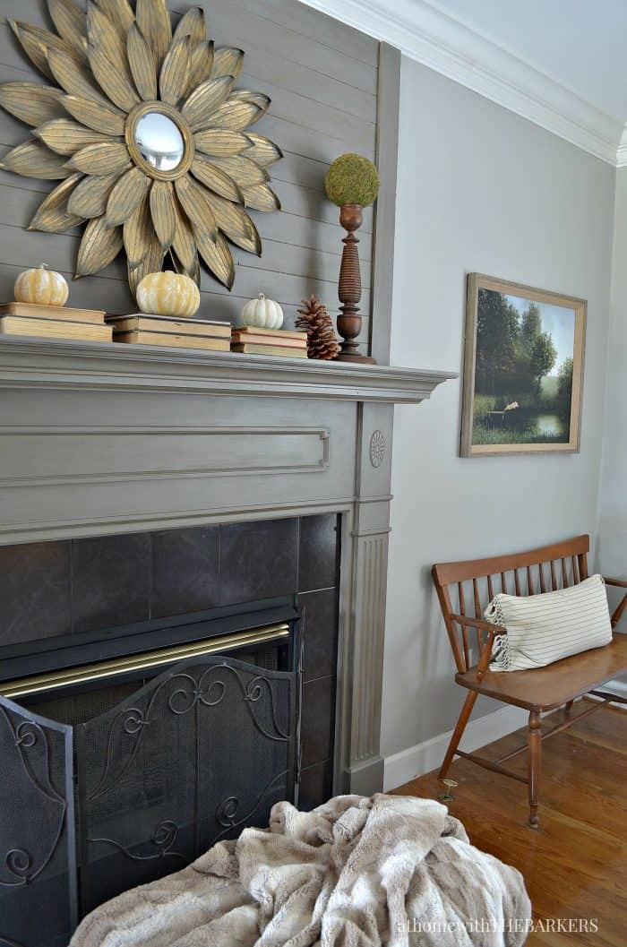Simple Fall Mantel and Living Room