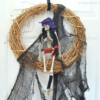 Easy DIY Halloween Wreath - Skeleton - At Home with The Barkers