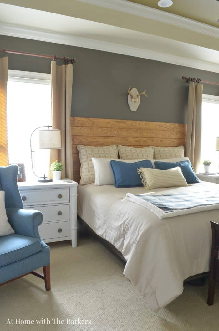 Master Bedroom Refresh - Blue Decor- athomewiththebarkers.com