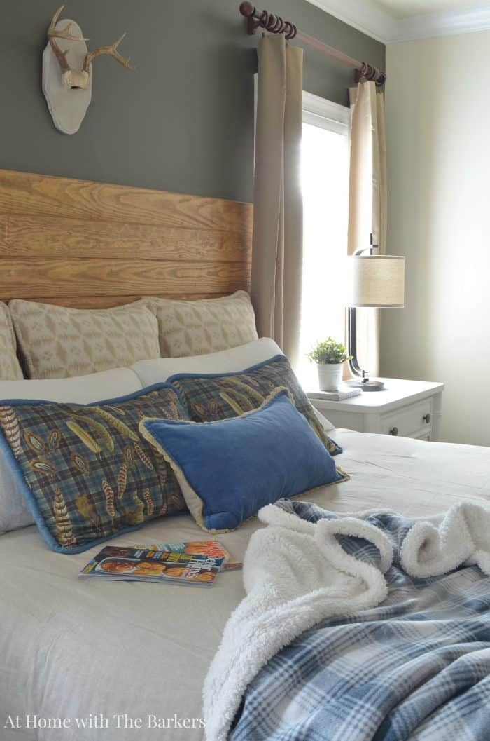Master Bedroom Refresh with neutral comforter - athomewiththebarkers.com