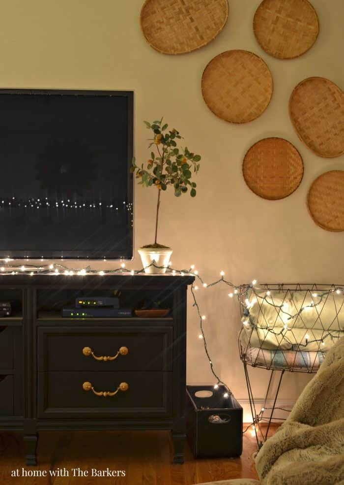 Christmas Lights at Night Living Room TV decor