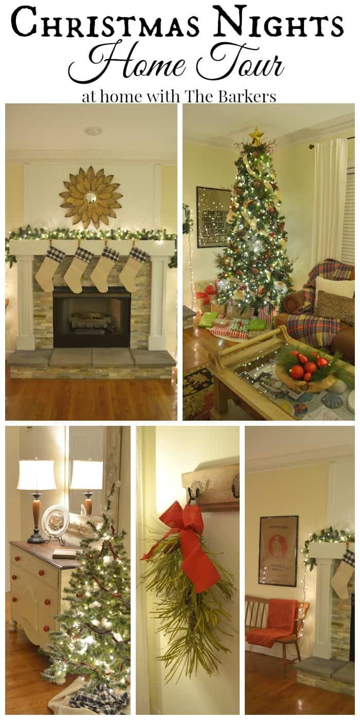 Christmas Lights at Night Home Tour including a gorgeous mantel and tree / athomewiththebarkers.com