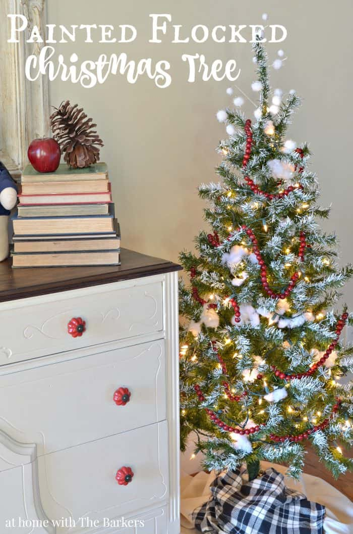 diy painted flocked christmas tree decor athomewiththebarkerscom