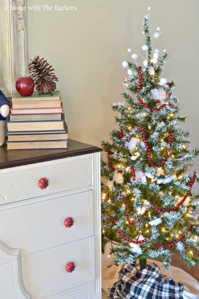 Painted Flocked Christmas Tree for Foyer decor