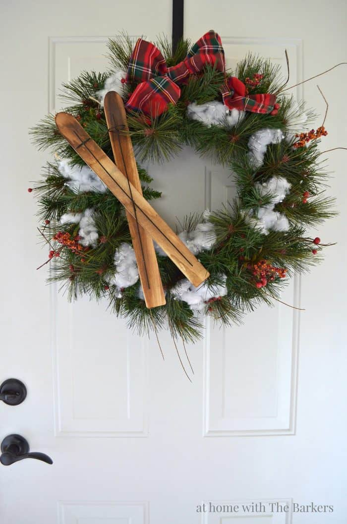 Rustic Lodge Upcycled Christmas Wreath from athomewiththebarkers.com