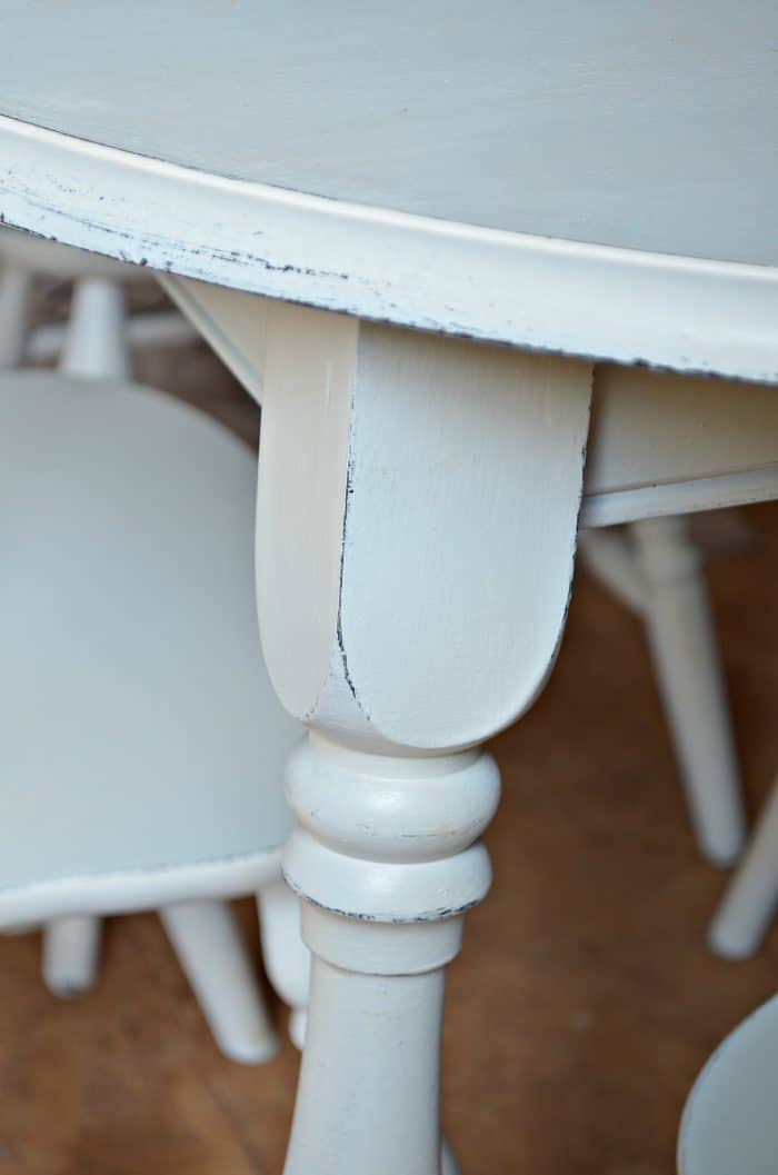 Pained Table with distressing detail