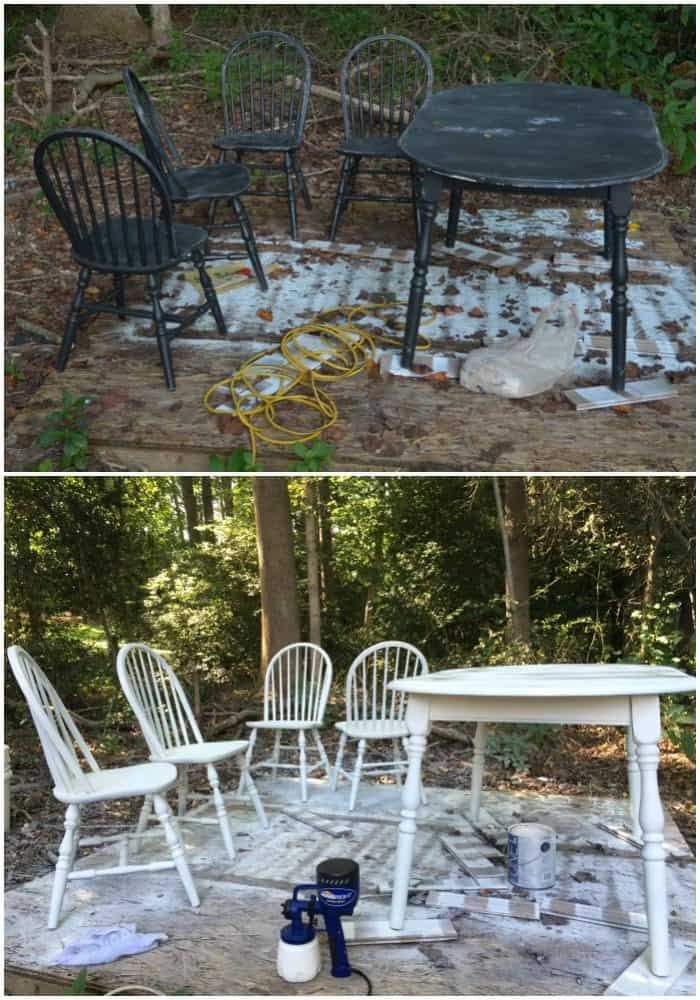 Painting Table and Chairs - Before and After