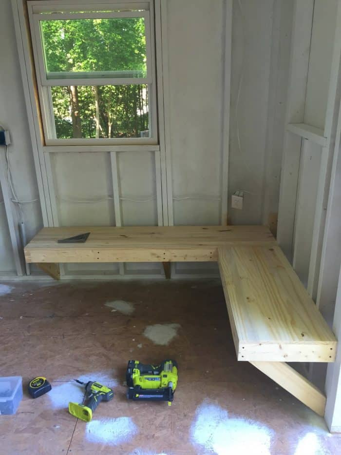 DIY Pine Bench for shed