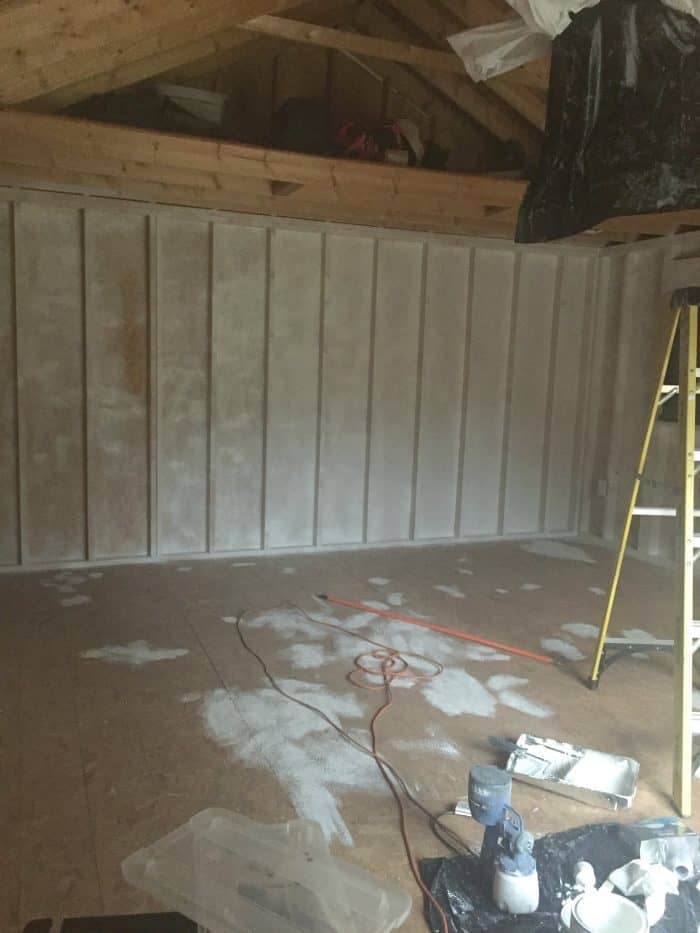 Painting the interior shed white