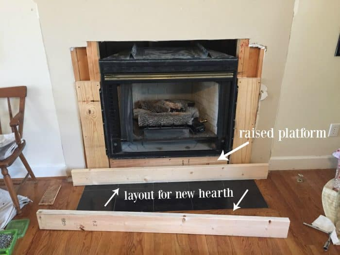 Diy fireplace makeover at home with the barkers diy fireplace hearth layout solutioingenieria