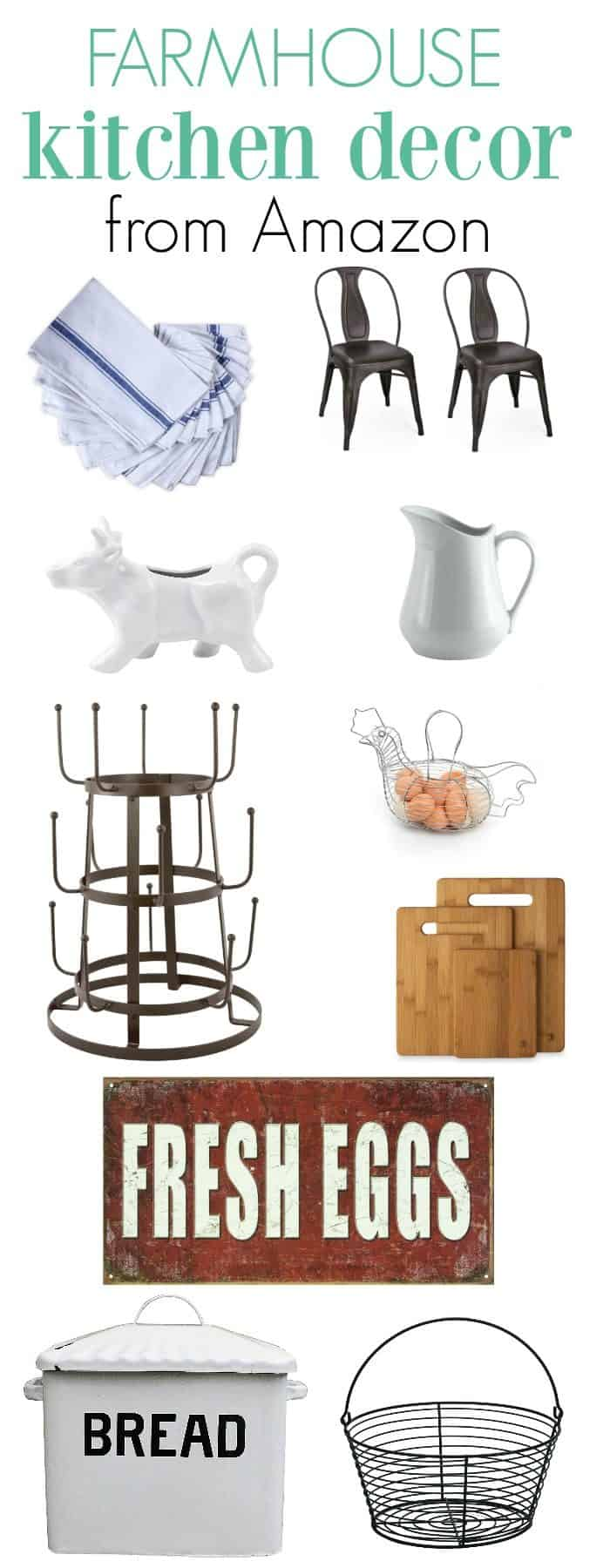 Finding Farmhouse Kitchen Decor on Amazon is a great way to decorate your home on a budget. Vintage looking items that bring fun and function to your space.