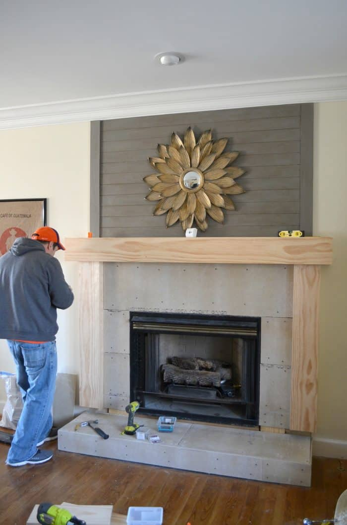 Fireplace Makeover Wood Mantel Build Diy