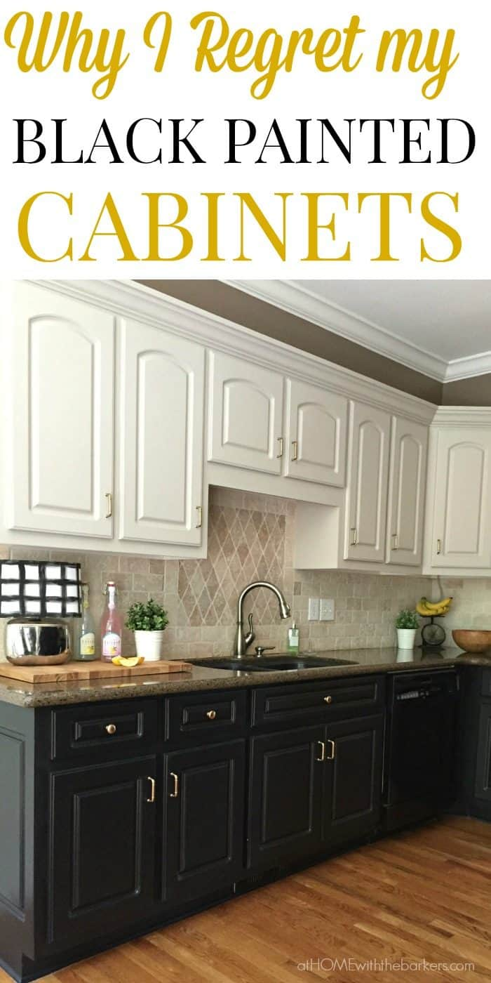 black cabinets kitchen. Find out why I regret painting all my lower kitchen cabinets black  Click over to Black Kitchen Cabinets The Ugly Truth At Home with Barkers