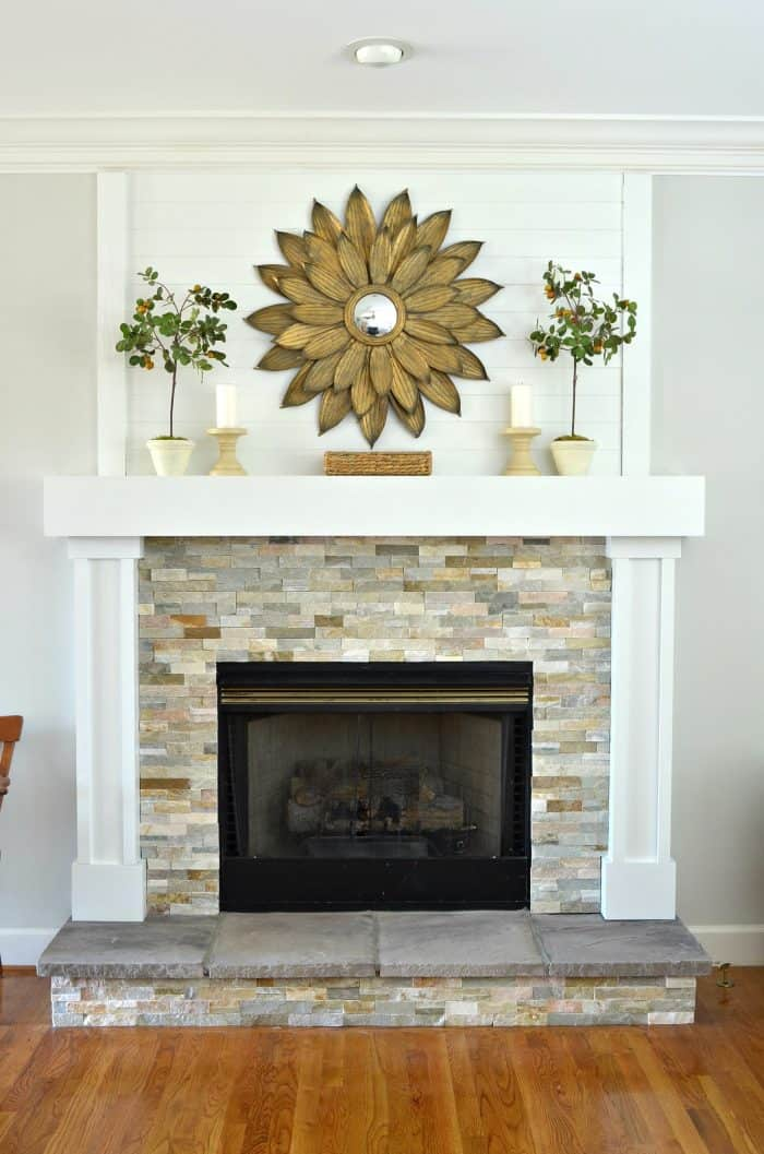 DIY Fireplace makeover and mantel.