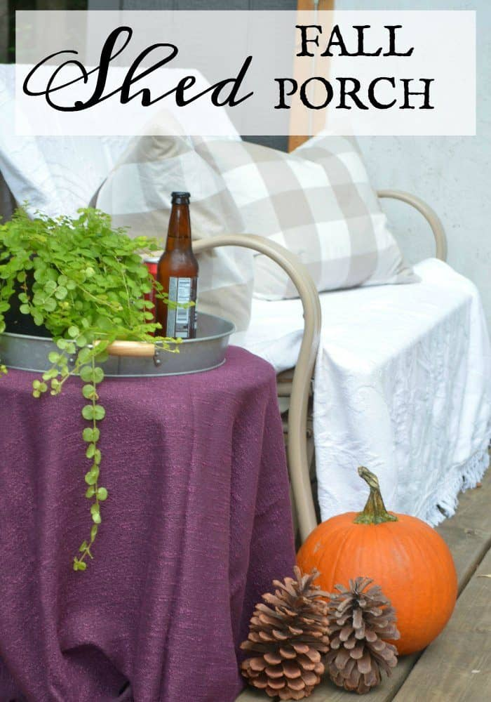 Shed Fall Porch Decor and cozy seating