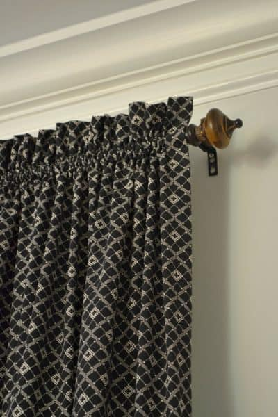 Easy sew rod pocket curtains for family room makeover. One Room Challenge on a budget.