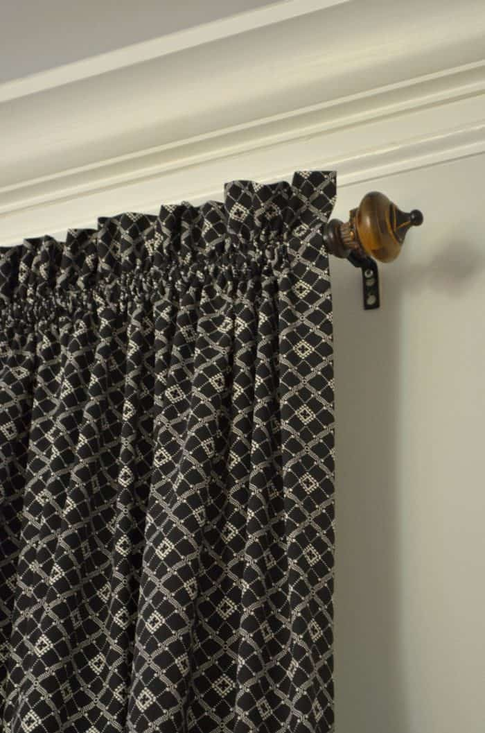 Easy sew rod pocket curtains for family room makeover. One Room Challenge Family Room Week 5 on a budget.