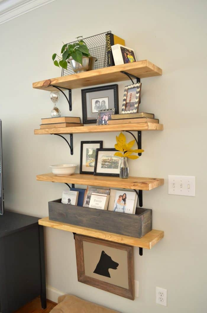 One Room Challenge Affordable Family Room Makeover including custom DIY wood shelves