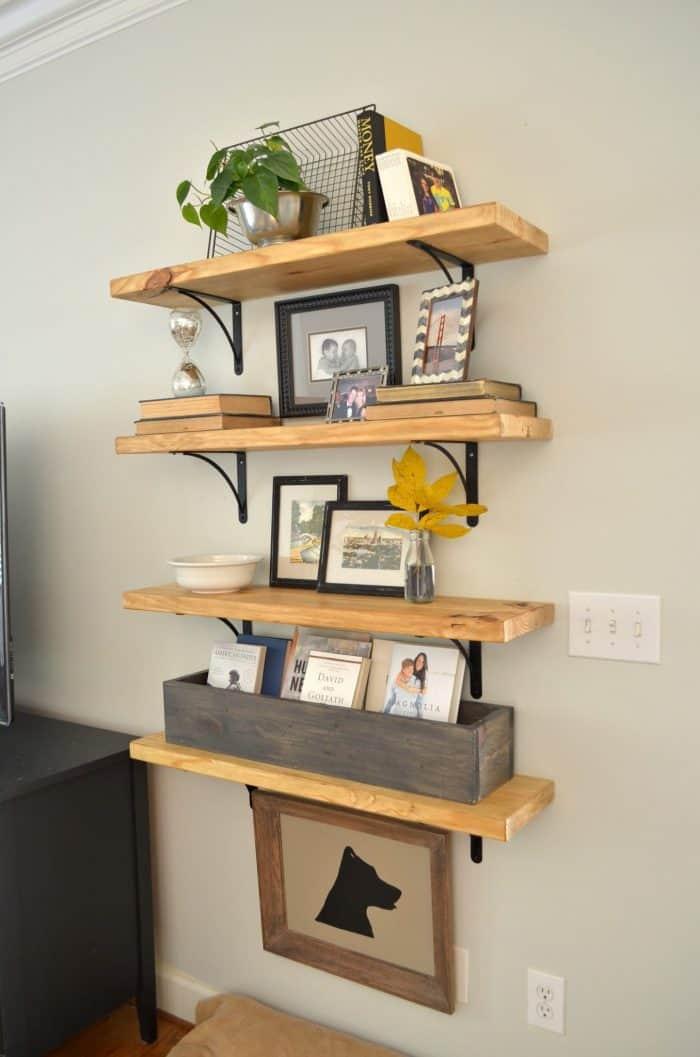 One Room Challenge Affordable Family Room Makeover including custom DIY wood shelves