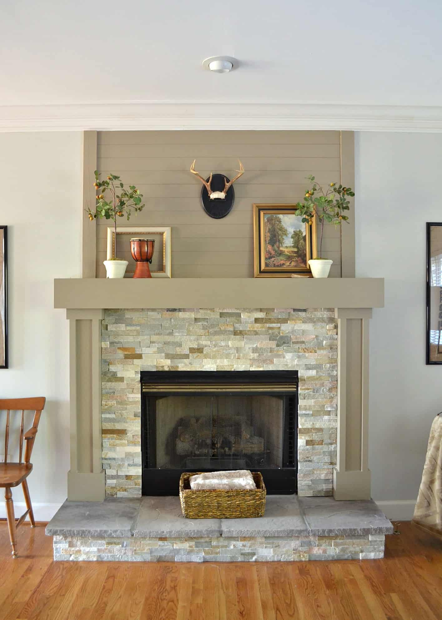 Wood Plank Mantel Makeover At Home With The Barkers