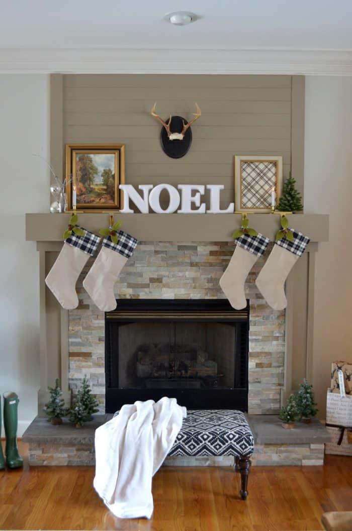 Neutral Christmas Home Tour Mantel Decor using Black, White, and Metallic