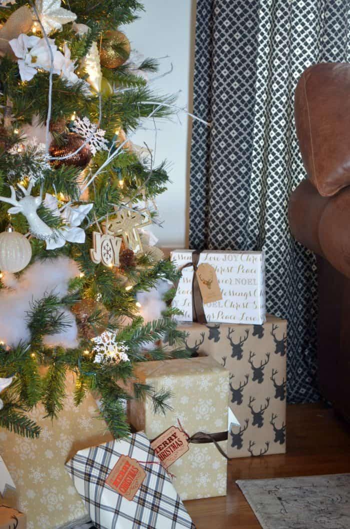 Neutral Christmas Home Tour using Black, White, and Metallic gift wrap