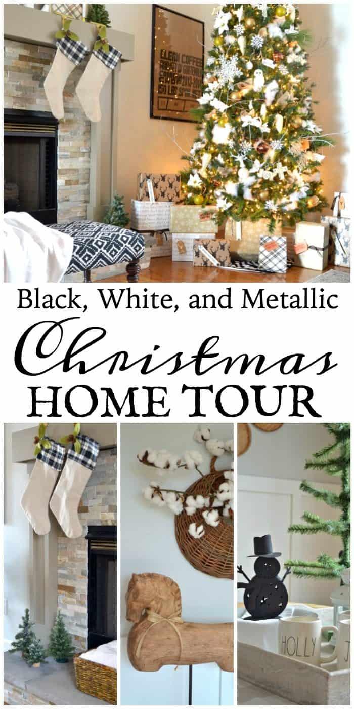 Neutral Christmas Home Tour using Black, White, and Metallics