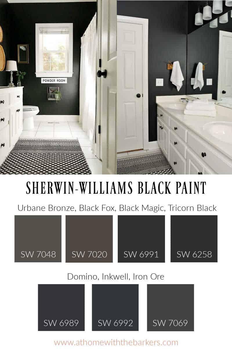 Black Paint graphic with bathroom black magic walls