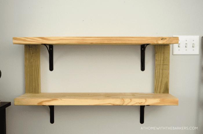 DIY Rustic Wood Shelves with metal brackets