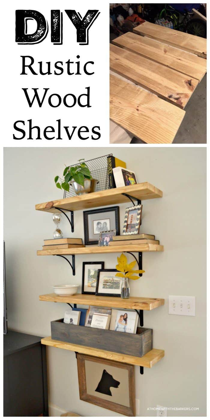 DIY Rustic Wood Shelves With Metal Brackets
