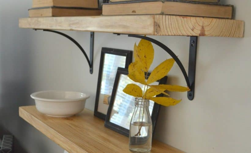 DIY Rustic Wood Shelves for family room makeover