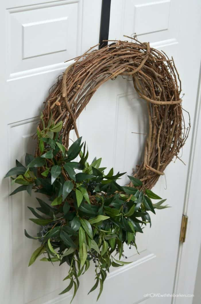Simple Spring Laundry Room Makeover including a DIY Farmhouse wreath