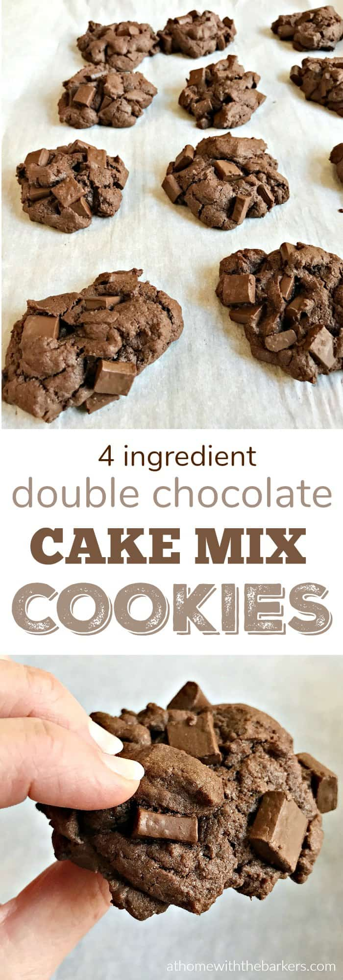 Double Chocolate Cake Mix Cookies using only 4 Ingredients