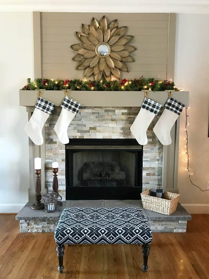 Simple Christmas Mantel adding small touches of red