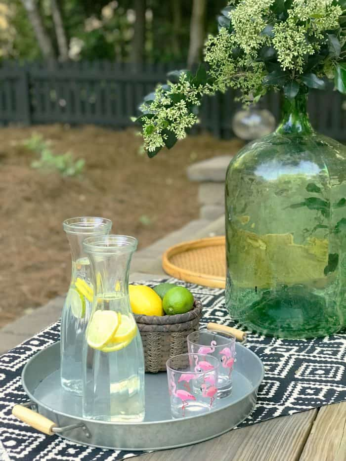 Spring Patio Farm Table Styling