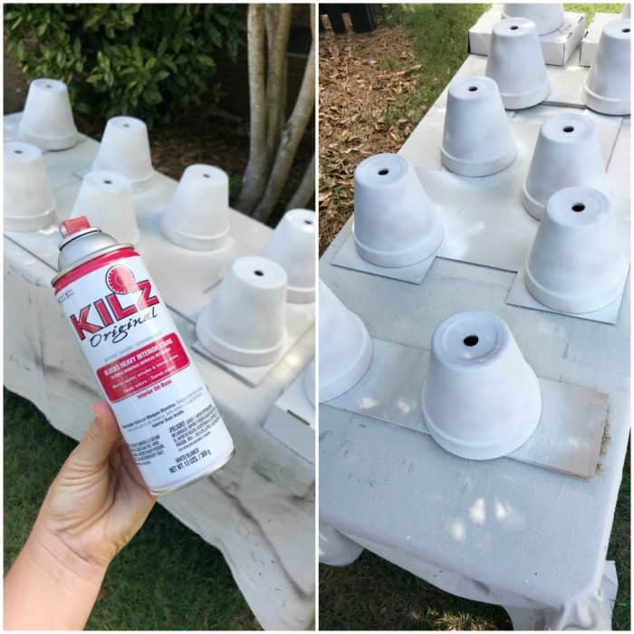 Easy tutorial for priming and painting terra cotta pots