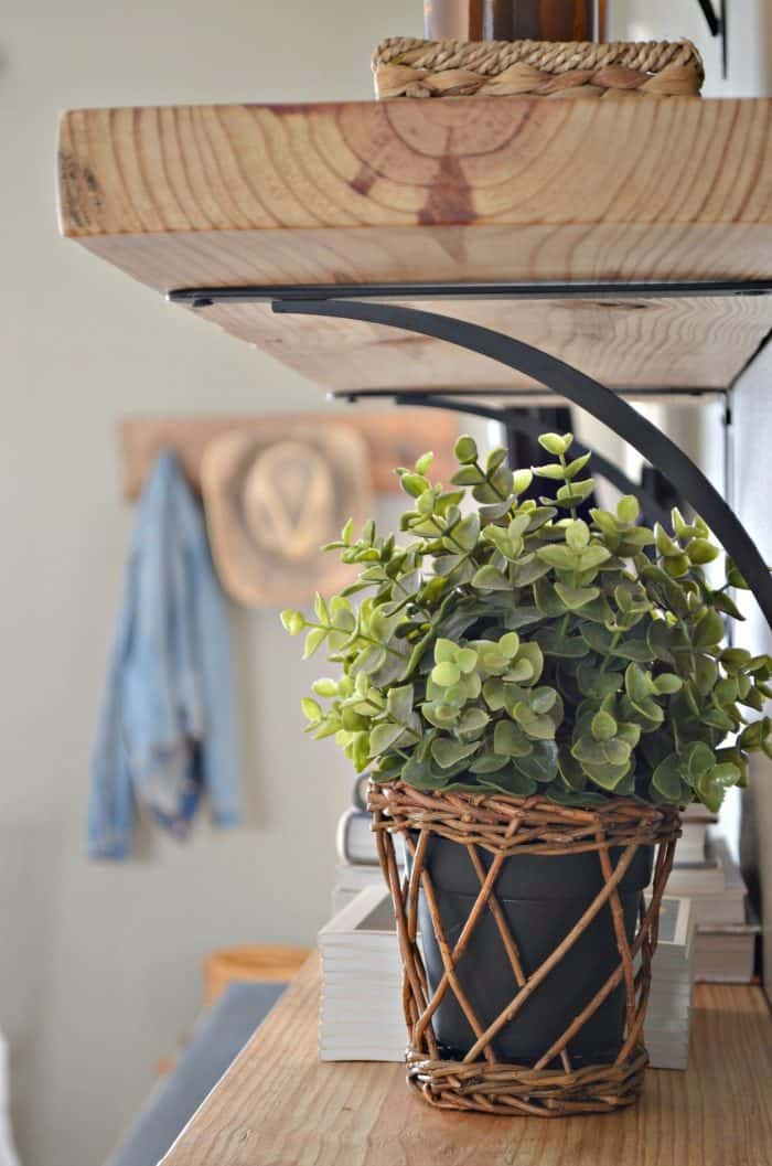 Greenery details are the perfect shelf styling item.