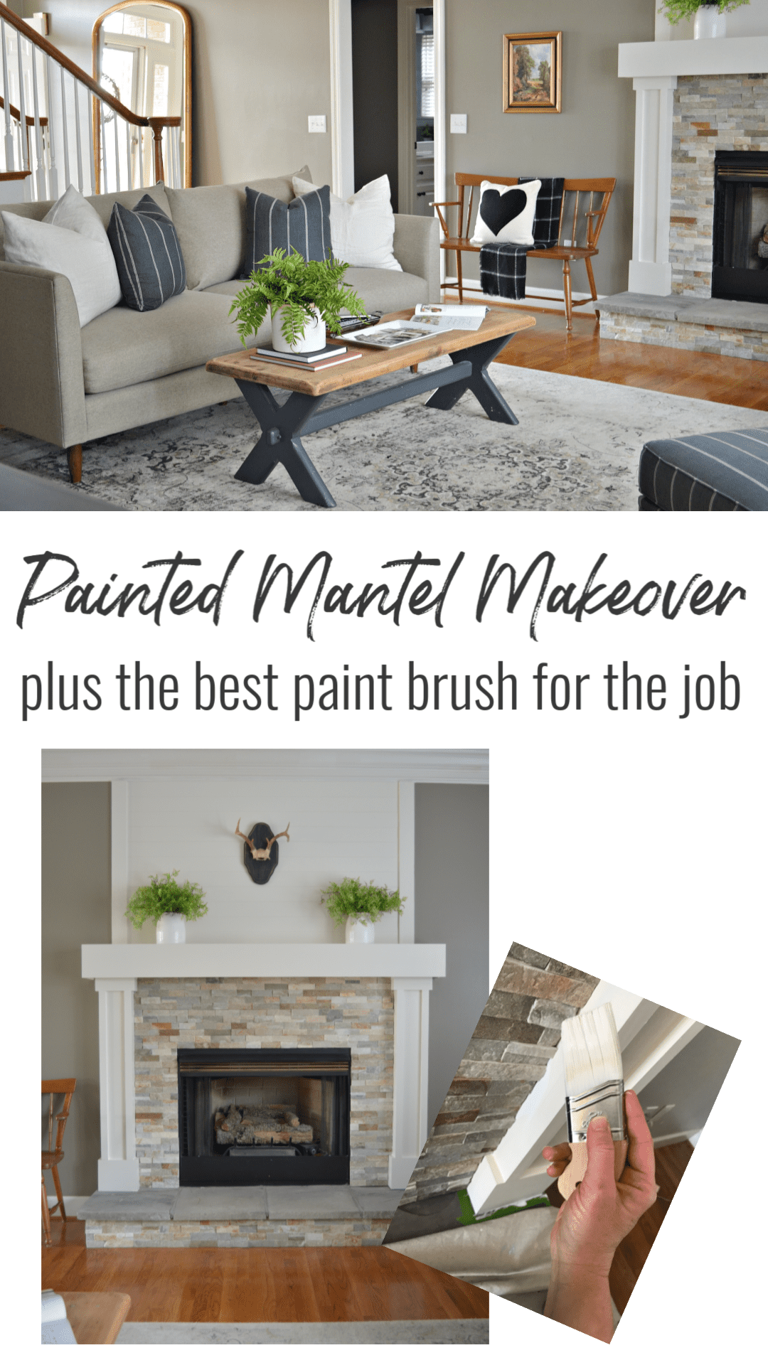 Finding the best paint brush for each project just got easier. Click the photo to see my favorite used on my painted mantel makeover. #diy #diyprojects #paintedprojects