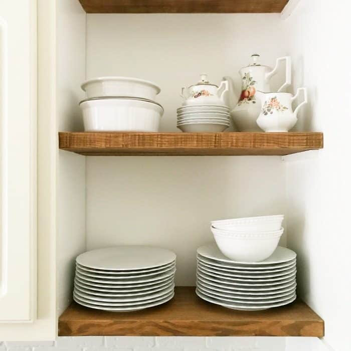 Open shelving makes everyday dishes easy to reach