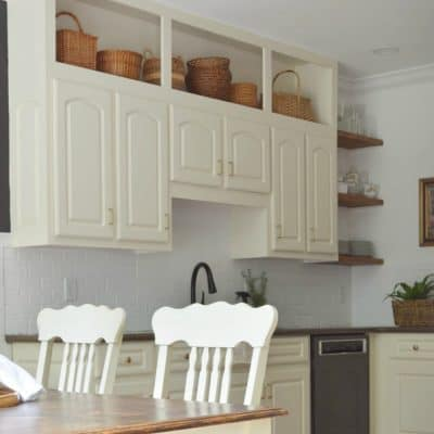 Kitchen and Cabinet makeover Pinterest pin