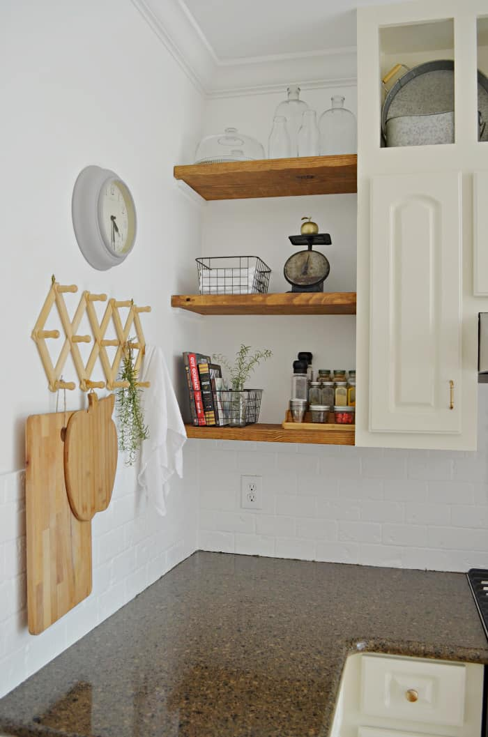 DIY kitchen makeover including open wood shelves