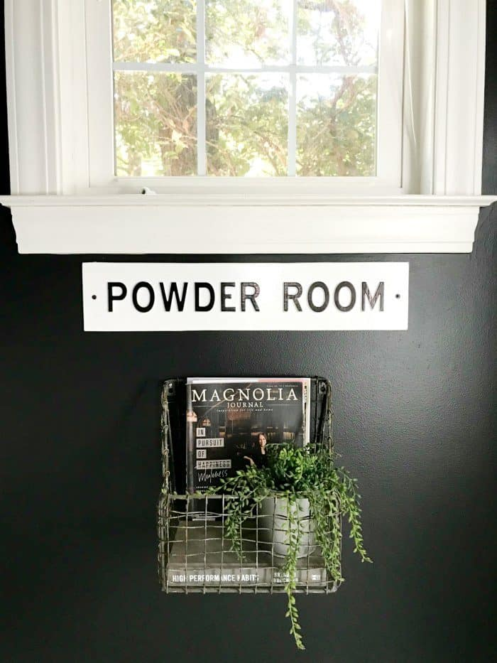 Bathroom makeover painted black walls