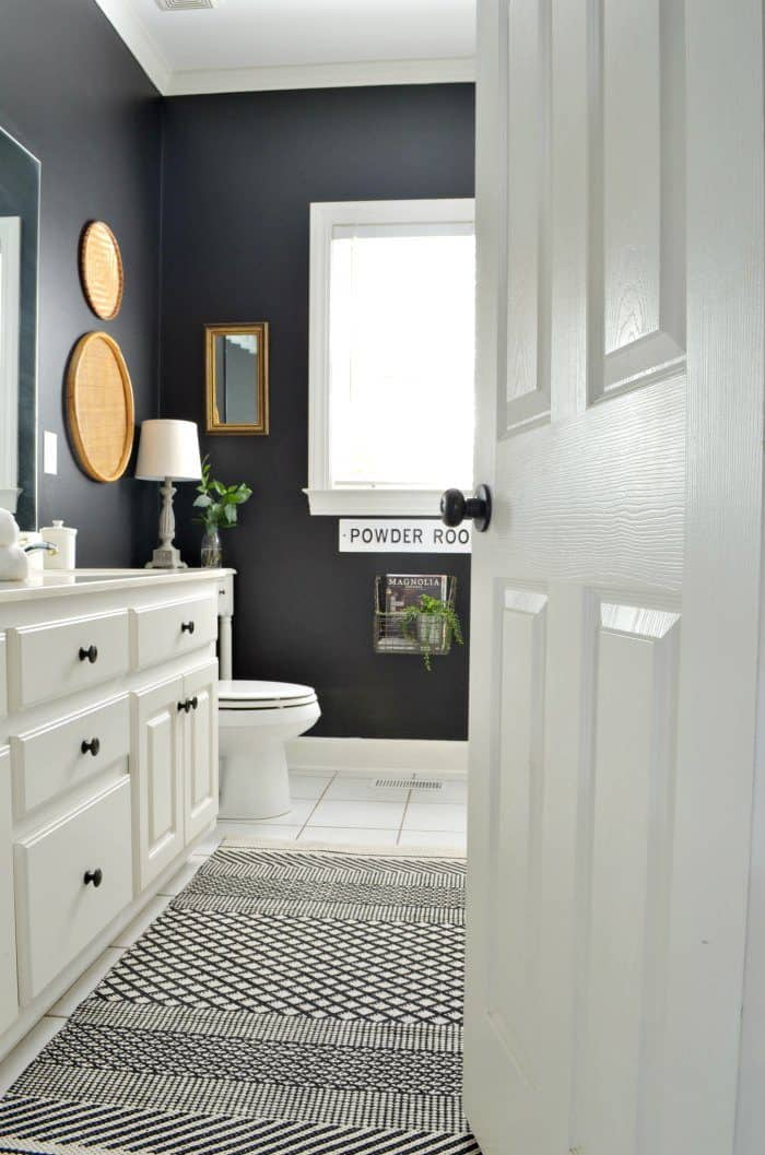 Bathroom makeover painted black walls